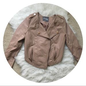 blush faux leather jacket